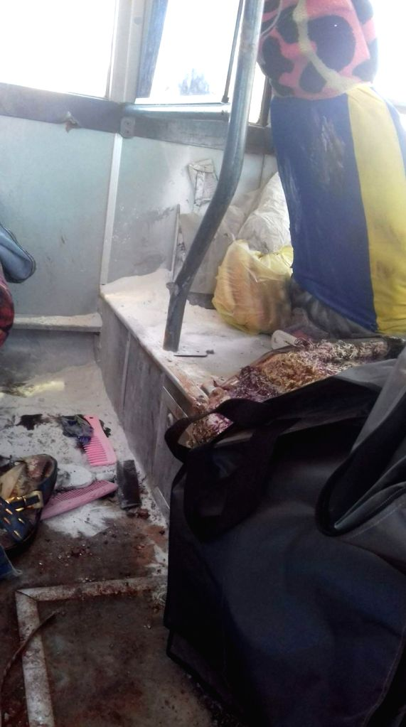 MINYA (EGYPT), May 27, 2017 Photo taken by mobile phone shows the interior of a bus attacked by gunmen in the Minya governorate, about 220 kilometers south of Cairo, Egypt, May 26, 2017. ...