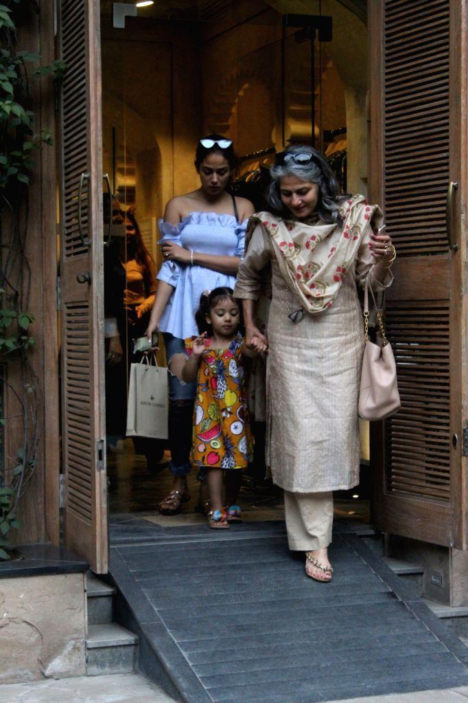 Mira Rajput, wife of actor Shahid Kapoor with her mother Bela Rajput and daughter Misha Kapoor seen at Bandra in Mumbai on Aug 25, 2019. - Shahid Kapoor and Misha Kapoor