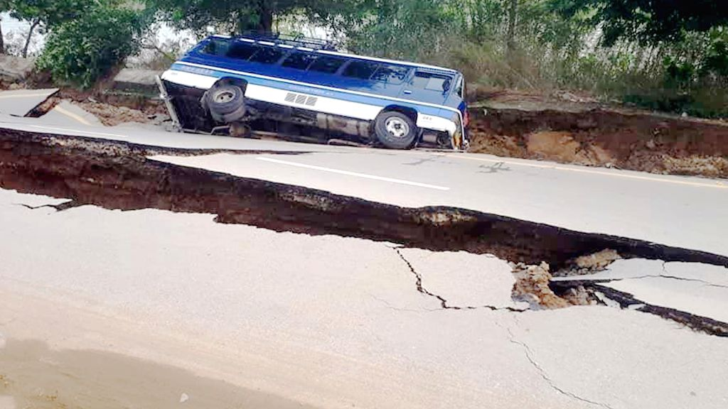 MIRPUR, Sept. 24, 2019 - Photo taken with a mobile phone shows a damaged road at the earthquake-hit area in Mirpur district of Pakistan-controlled Kashmir on Sept. 24, 2019. A 5.8-magnitude ...