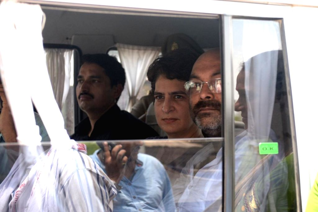 Mirzapur: Congress General Secretary Priyanka Gandhi being taken away by the police while she was proceeding for Ubhbha village in Mirzapur after meeting the injured from the Gond community at the Banaras Hindu University Trauma Centre in Varanasi, o