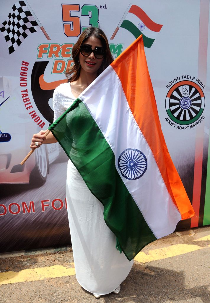 Miss Earth 2010, Nicole Faria during Independence Day celebrations organised by Round Table India in Bangalore on Aug 15, 2014.