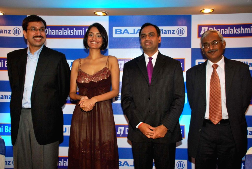 Miss India Ekta Chaudhury at Bajaj Allianz Association with Dhanalakshmi Bank in Mumbai.
