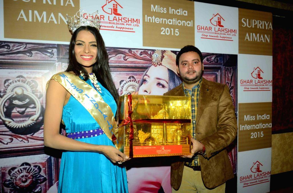 Miss India Supriya Aiman during a felicitation programme in Patna, on Nov 26, 2015.