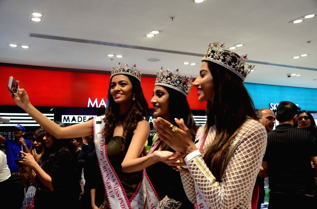 Miss India World 2018 winner Anukreethy Vas, Miss India first runner-up Meenakshi Chaudhary and second runner up Shreya Rao Kamavarapu at the launch of Sephora's store at Goregaon on July ... - Meenakshi Chaudhary and Shreya Rao Kamavarapu