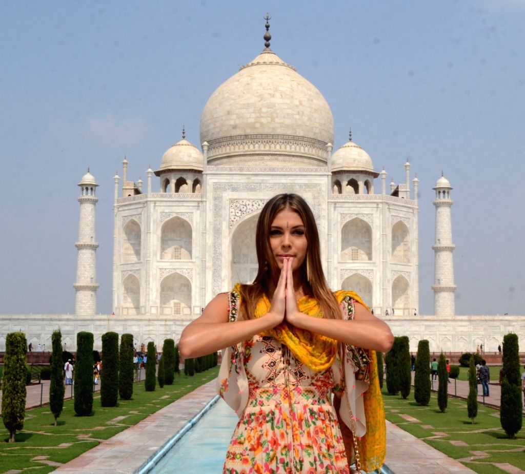 Miss Universe 2016 Iris Mittenaere during her visit to the Taj Mahal in Agra, Uttar Pradesh on Oct 10, 2017.
