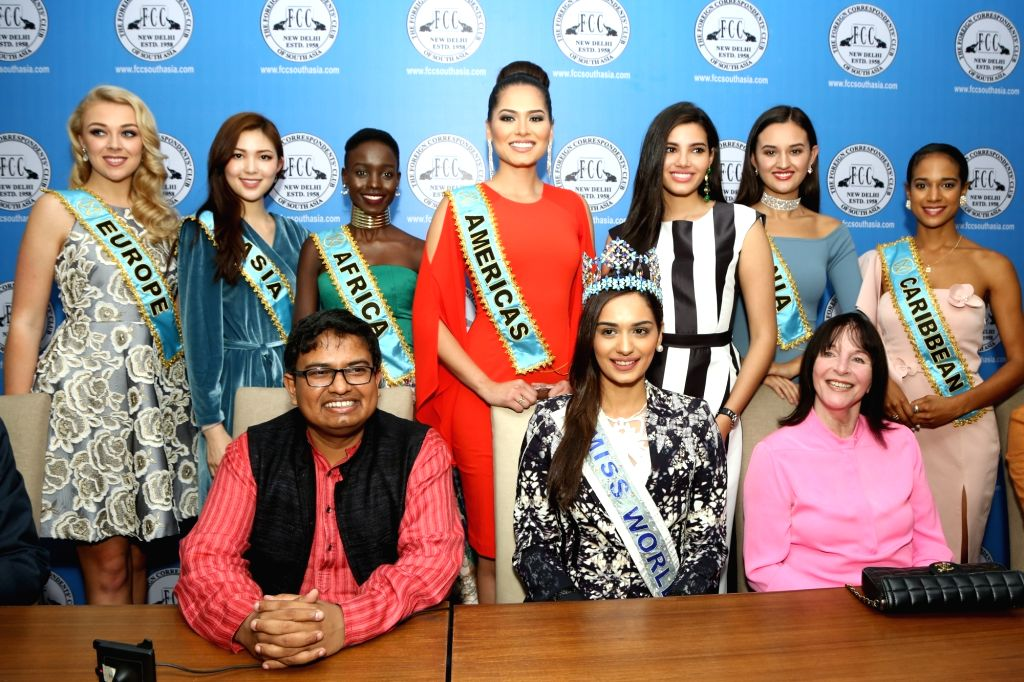 "Miss World 2017 Manushi Chhillar along with 6 Miss World 2017 Continental Winners during the announcement of ""Freedom From Shame' of menstruation is essential for healthy and happier ..."