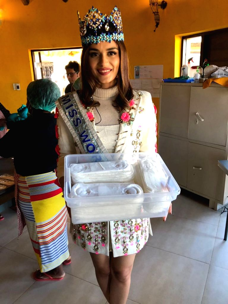 Miss World 2017 Manushi Chhillar with compostable menstrual hygeine pad, in Mvezo, South Africa on July 18, 2018.