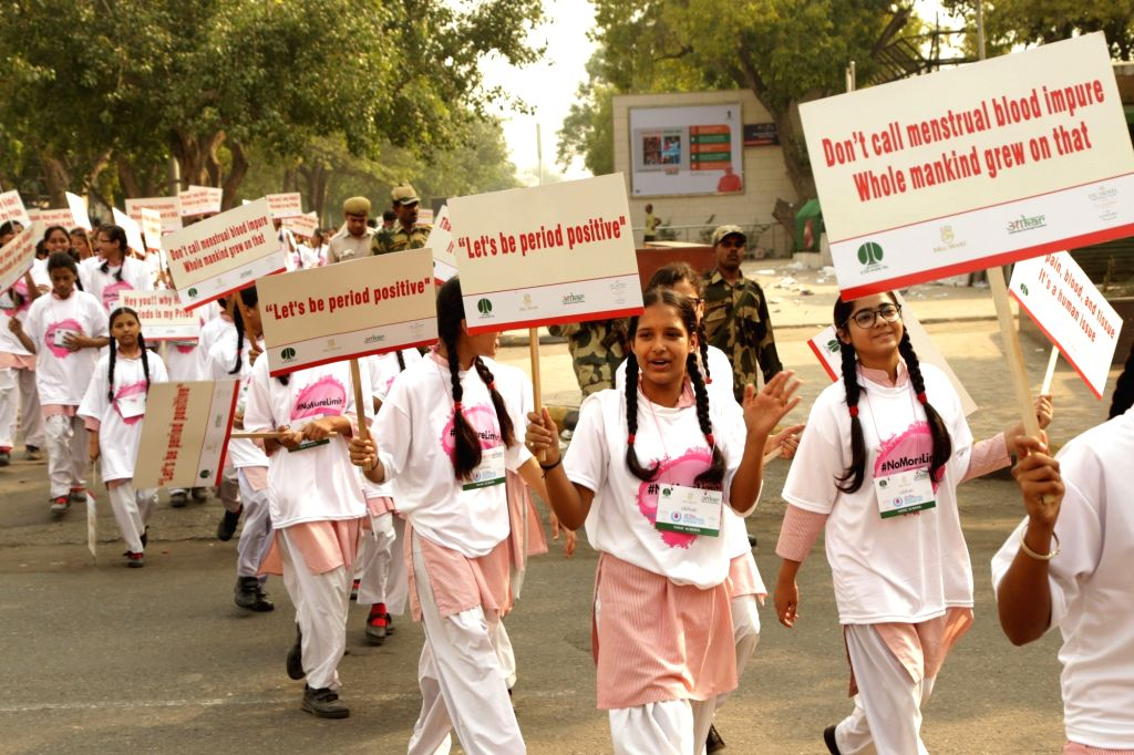 Miss World 2017 Manushi Chhillar with school girls participating in a march on the occasion of World Menstrual Hygiene Day at Connaught Place in New Delhi on May 28,2018.