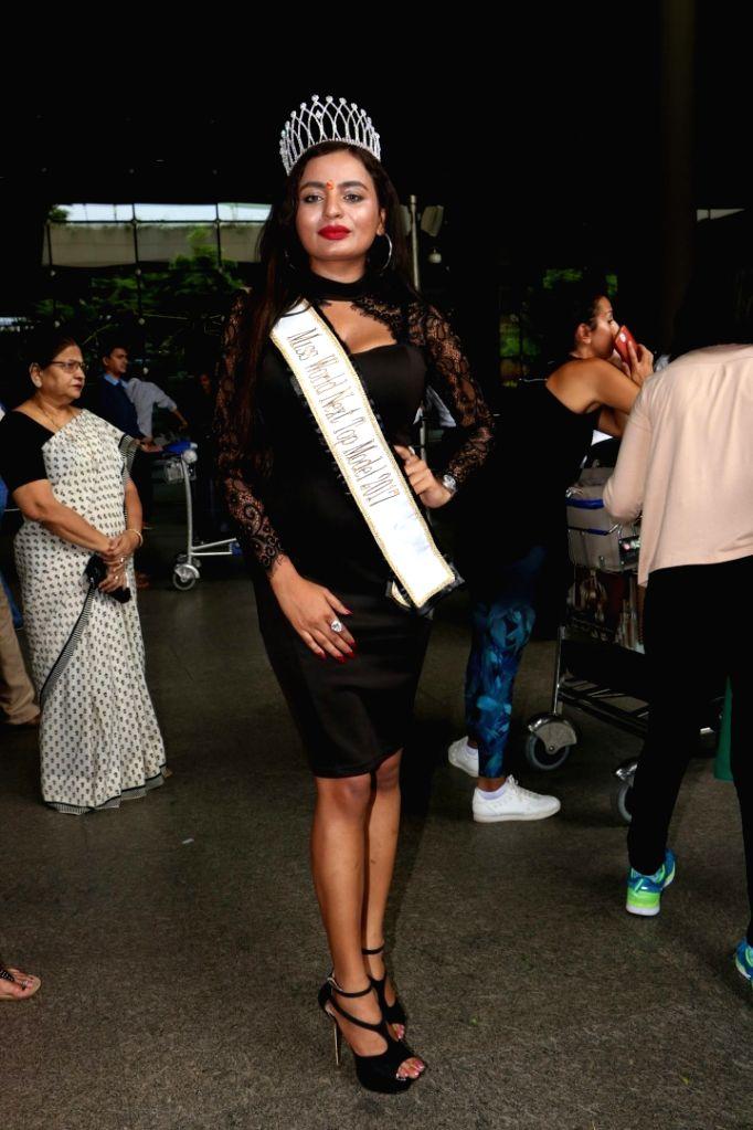 Miss World Next Top Model 2017 Charles Cheryl spotted at Chhatrapati Shivaji Maharaj International airport in Mumbai on Aug 10, 2017. (Photo: IANS]