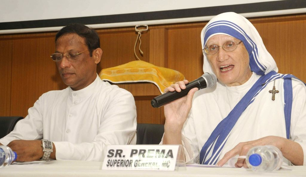 Missionaries of Charity Superior General Sr. Prema during a press conference regarding Mother Teresa's Sainthood celebrations and upcoming International Mother Art Exhibition at St. Xavier's ...