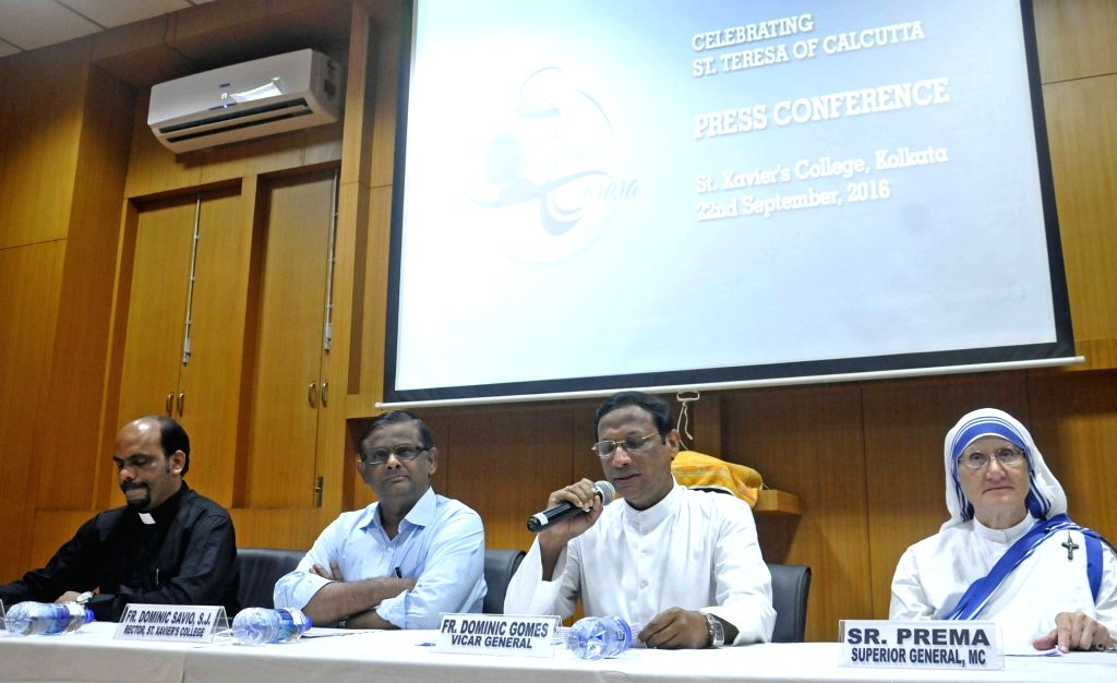 Missionaries of Charity Vicar General Fr. Dominic Gomes and Superior General Sr. Prema during a press conference regarding Mother Teresa's Sainthood celebrations and upcoming International ...