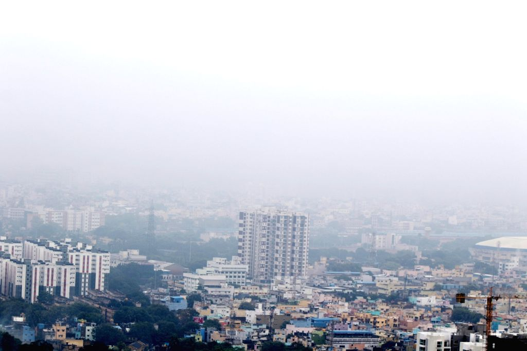 Mist engulfs Chennai in the morning hours on Oct 27, 2020.