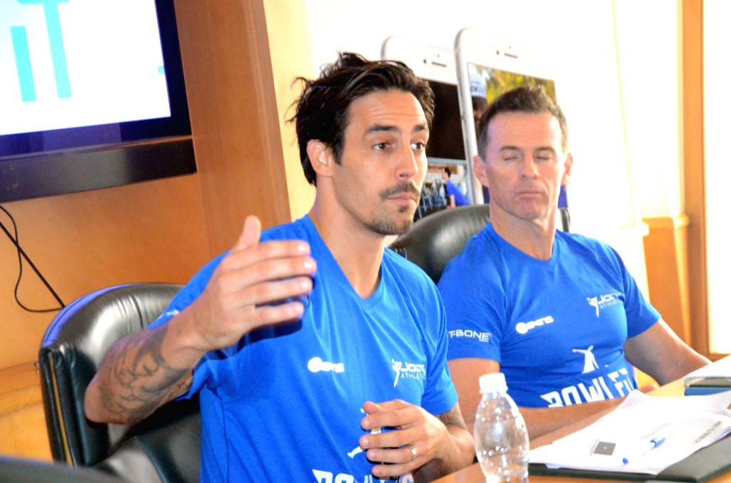 Mitchell Johnson of Mumbai Indians during a press conference in Mumbai on May 3, 2017.