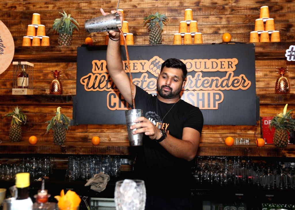 Mixologist and Monkey Shoulder India Brand Ambassador Pankaj Balachandran during the Ultimate Bartender Championship in Kolkata, on June 3, 2019.
