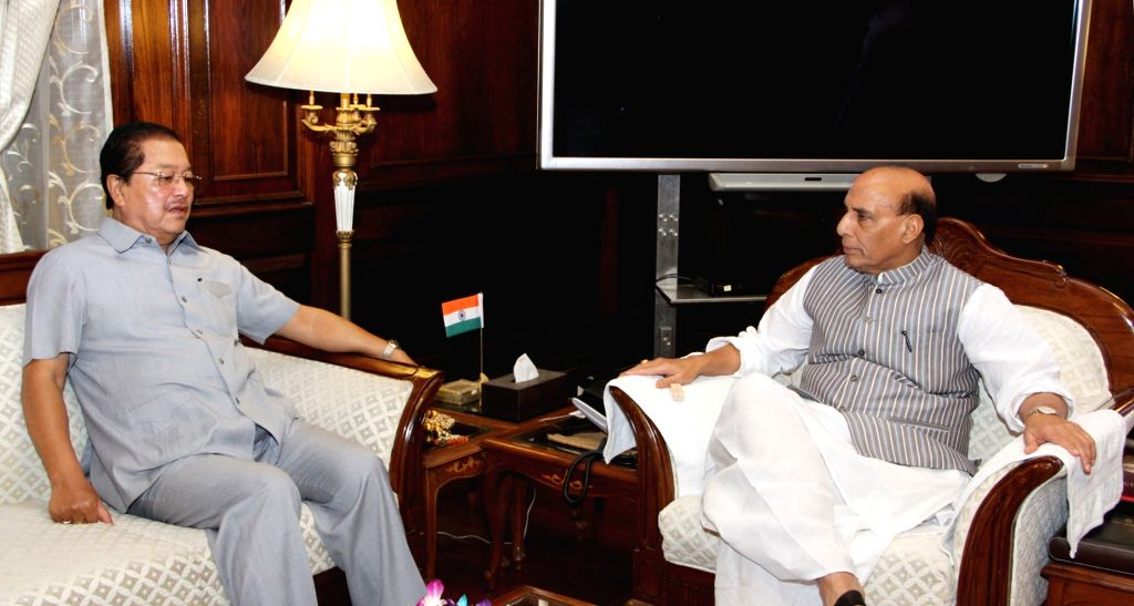 Mizoram Chief Minister Pu Lalthanhawla calls on Union Home Minister Rajnath Singh in New Delhi on May 30, 2017. - P and Rajnath Singh