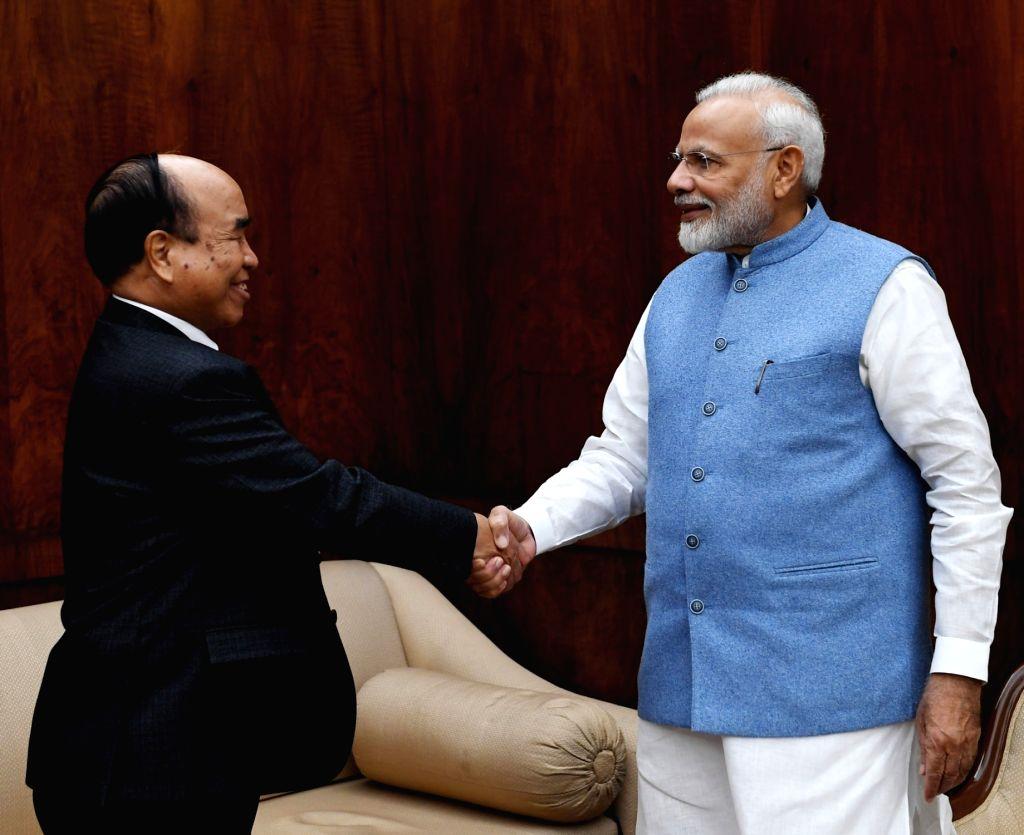 Mizoram Chief Minister Zoramthanga calls on Prime Minister Narendra Modi in New Delhi on Dec 5, 2019. - Zoramthanga and Narendra Modi