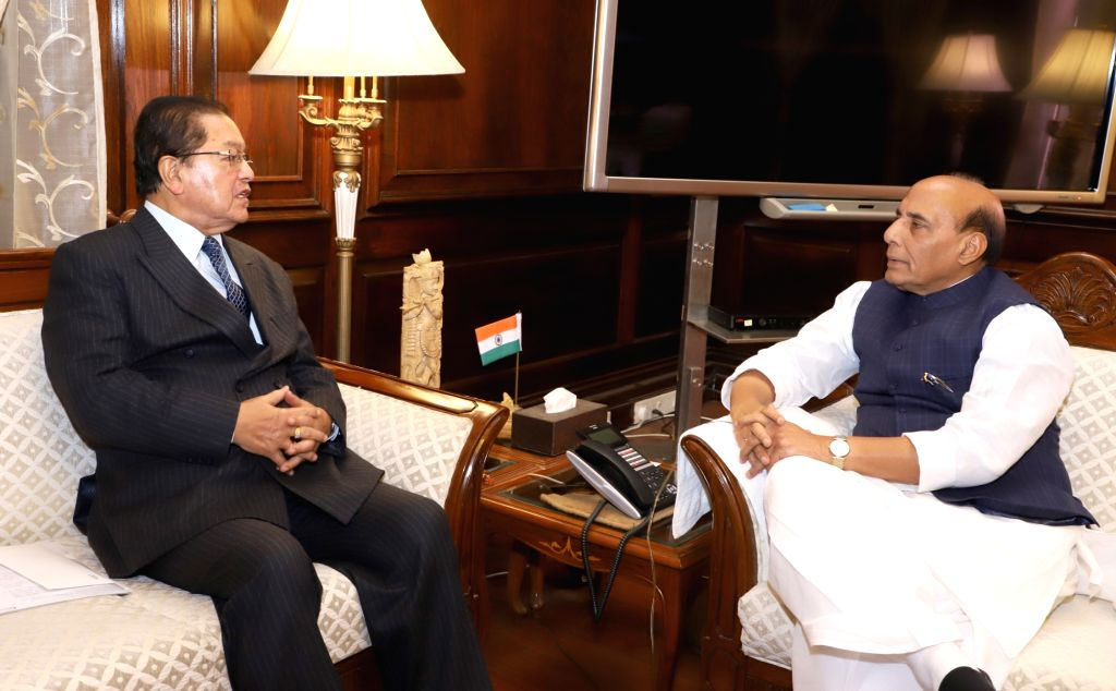Mizoram Governor Lal Thanhawla calls on Union Home Minister Rajnath Singh in New Delhi on Feb 13, 2018. - Rajnath Singh