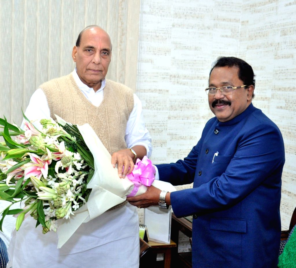 Mizoram Governor PS Sreedharan Pillai calls on the Union Defence Minister Rajnath Singh, in New Delhi on Nov 13, 2019. - Rajnath Singh