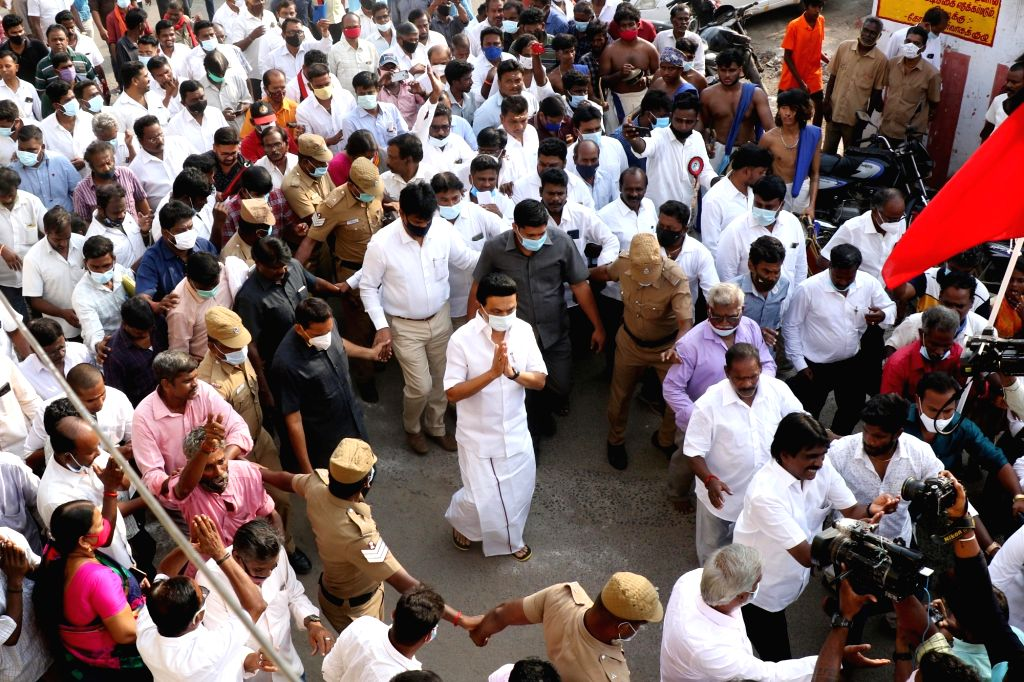 MK Stalin campaigned in his constituency for the upcoming Tamil Nadu Assembly election in chennai
