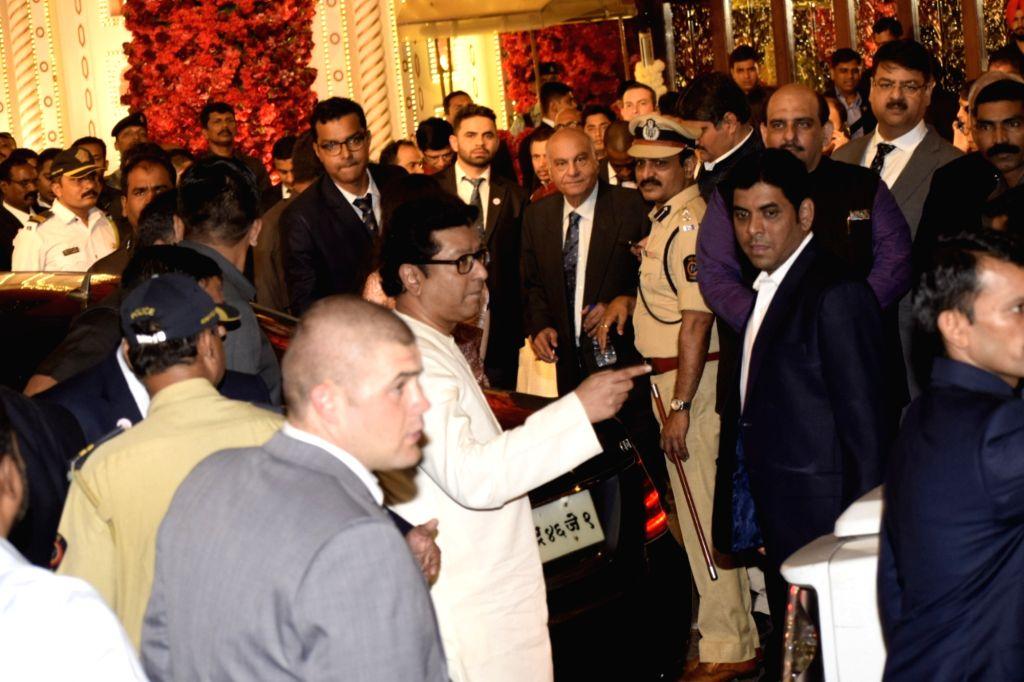 MNS chief Raj Thackeray at the wedding ceremony of industrialist Mukesh Ambani's daughter Isha Ambani and Anand Piramal at Antilia in Mumbai on Dec 12, 2018. - Mukesh Ambani and Isha Ambani