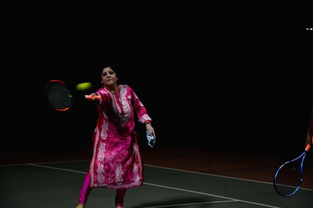 MNS Chief Raj Thackeray's wife Sharmila Thackeray during action play Badminton at Shivaji Park Gymkhana, Shivaji Park, Dadar in Mumbai on Friday November 13, 2020.