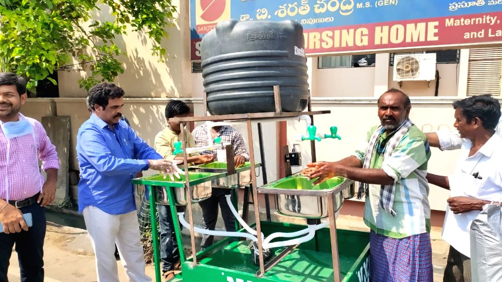 Mobile hand-wash facility for slums in Andhra town.