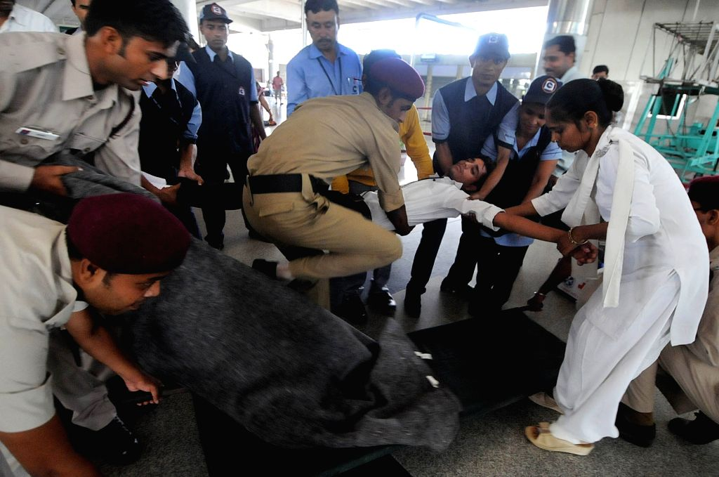 Mock drill underway at Kashmere Gate in New Delhi, on June 30, 2017.