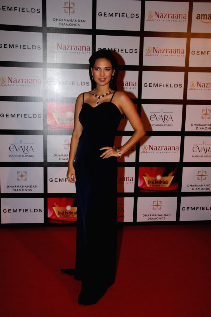 Model and former Miss India Rochelle Rao during the Gemfields and Nazraana Retail Jeweller India Awards 2015, in Mumbai on Aug 8, 2015. - Rochelle Rao