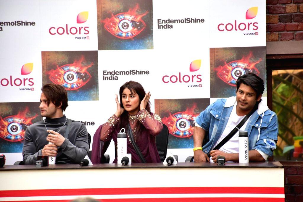 Model Asim Riaz and actors Shehnaz Kaur Gill and Siddharth Shukla at Bigg Boss 13 press conference, in Mumbai on Feb 5, 2020. - Asim Riaz, Shehnaz Kaur Gill and Siddharth Shukla