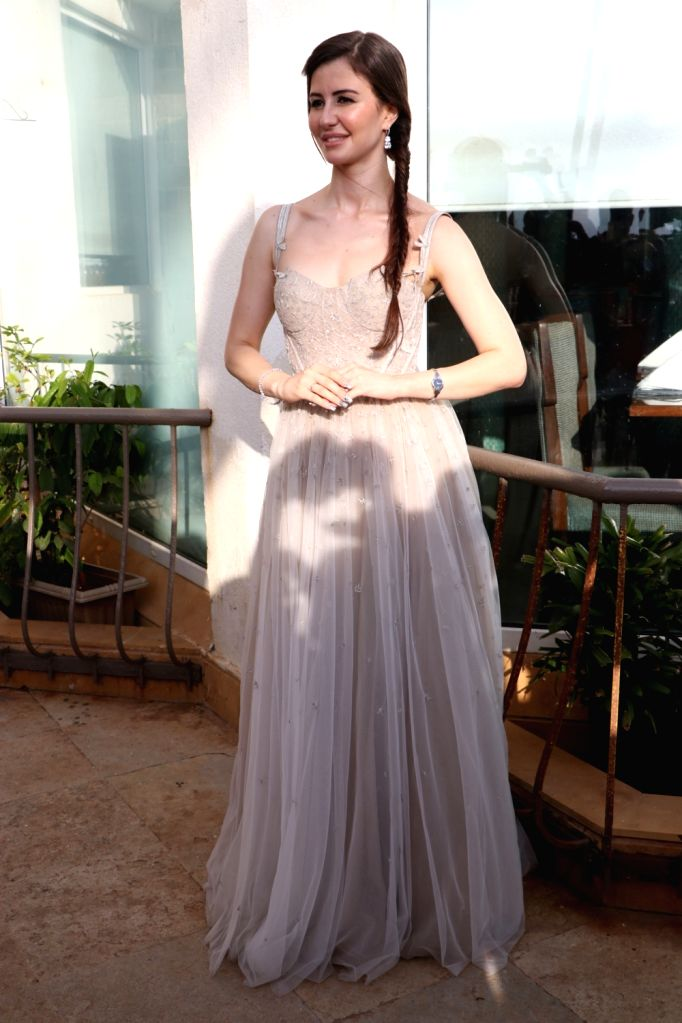 """Model Georgia Andriani during the promotions of her upcoming film """"Welcome to Bajrangpur"""" in Mumbai on Nov 7, 2019. - Georgia Andriani"""