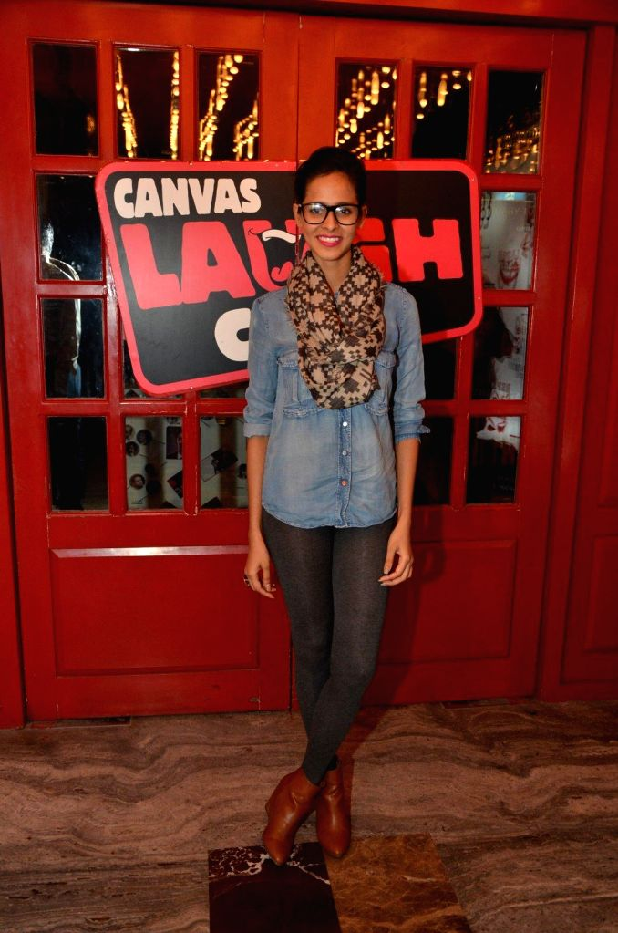 Model Madhu Sneha at Comedian Nitin Mirani's performing stand-up comedy at Canvas laugh Club in Mumbai on Jan 10, 2015. - Madhu Sneha