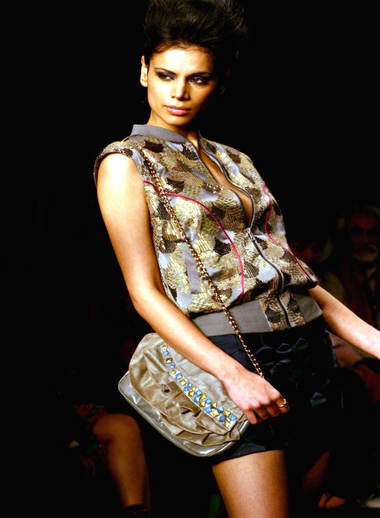 Model on the ramp for designer Namrata Joshipura at Wills Lifestyle India Fashion Week in New Delhi on March 20.