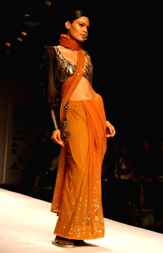 Model on the ramp for Designer Puja Nayyar at Wills Lifestyle India Fashion Week 2009 in New Delhi on March 22.
