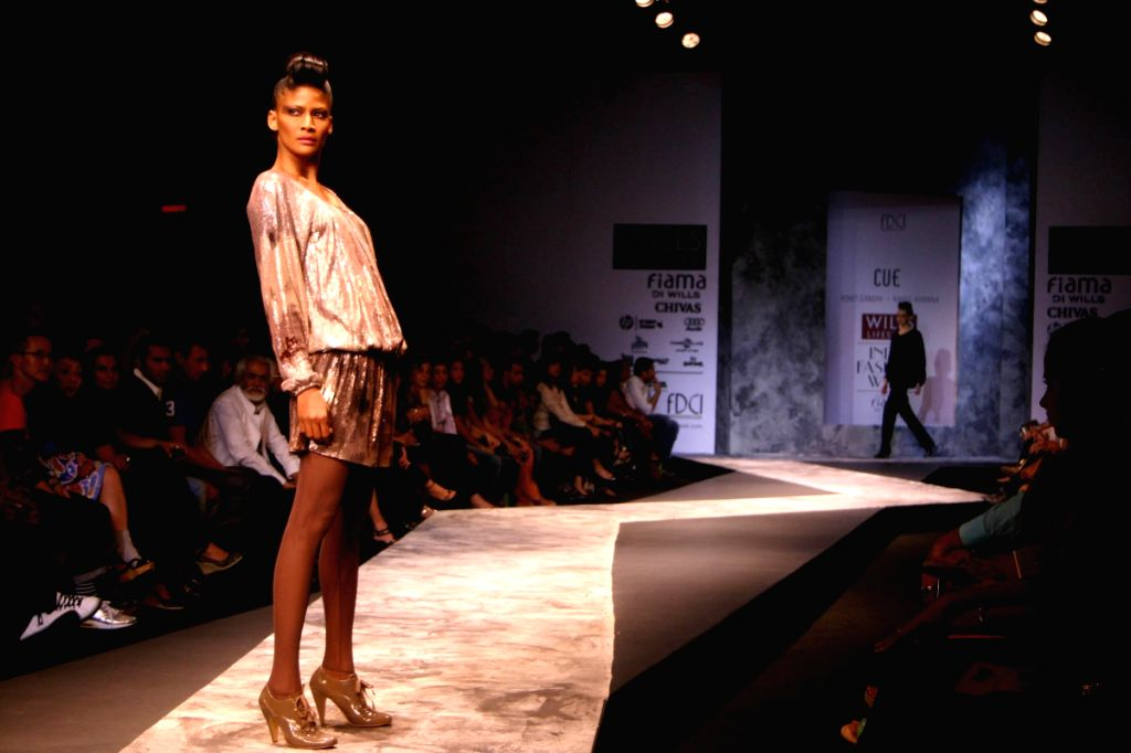 Model on the ramp for Designer Rohit Gandhi and Rahul Khanna at WIFW in New Delhi on March 21.