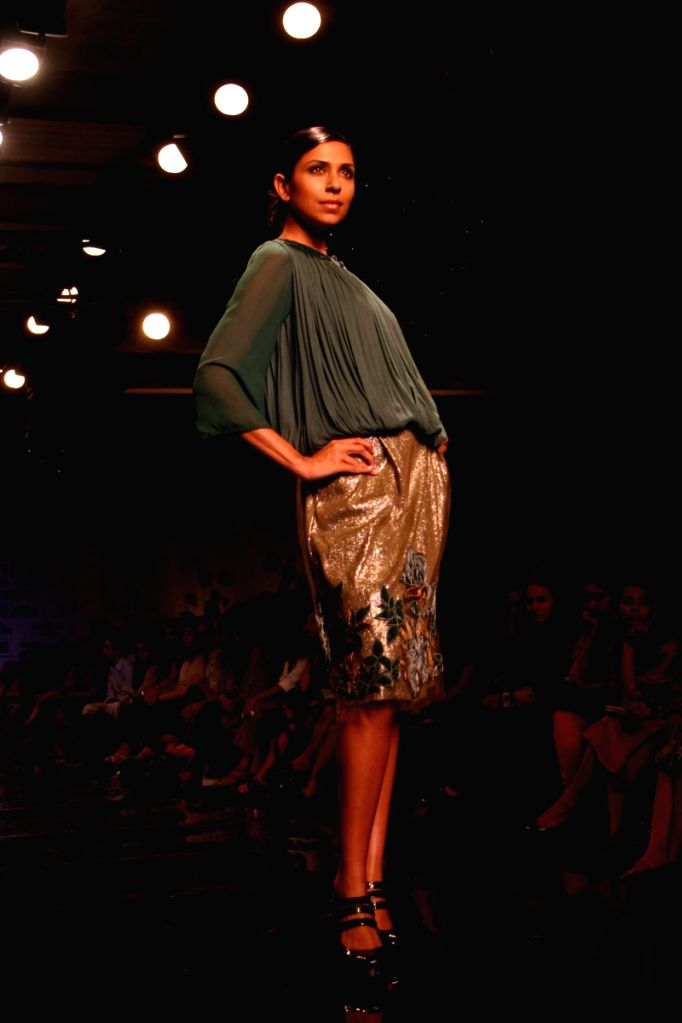 Model on the ramp for Designer Varun Bhal at WIFW in New Delhi on March 21.