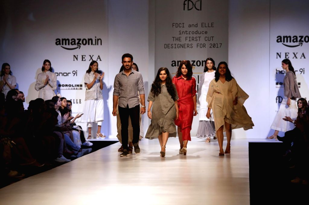 Model showcase the creations of Fashion Designer Rimzim Dadu at Amazon India Fashion Week Summer Spring in New Delhi, on Oct 11, 2017.
