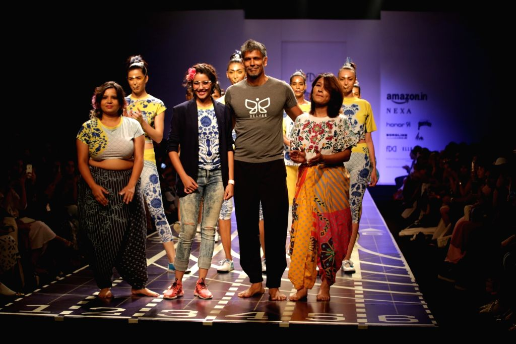Model showcase the creations of Fashion Designer Nida Mahmood at Amazon India Fashion Week Summer Spring in New Delhi, on Oct 11, 2017.