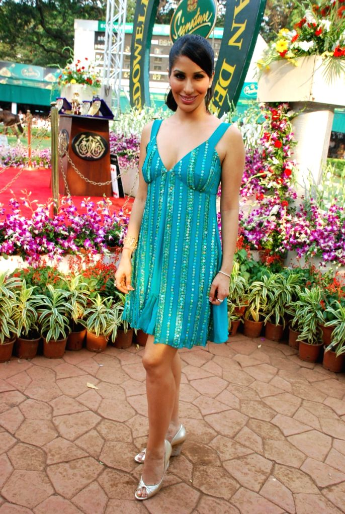 Model-turned-actress Sophie Chaudhary and former Miss India Sarah Jane at Derby event in Mumbai.