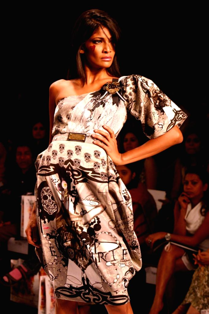 Model walk on the ramp for designer Falguni and Shane Peacock at Wills Lifestyle India Fashion Week held in Delhi on March 18.