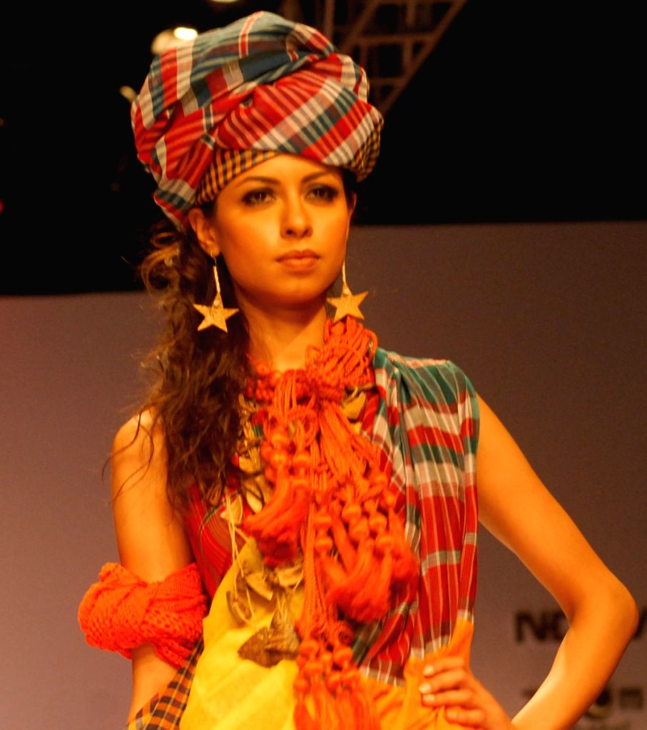 Model walks at the ramp show during the Kolkata Fashion Week on 2nd April 2009.