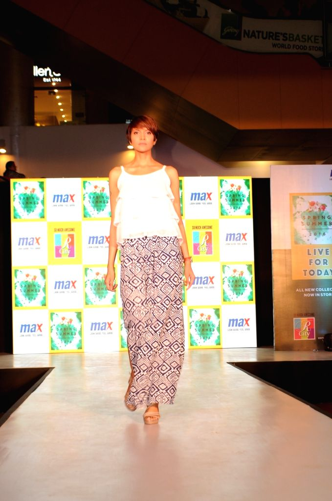 Model walks on the ramp at Max Summer`16 collection launch fashion show in Mumbai, on April 10, 2016.