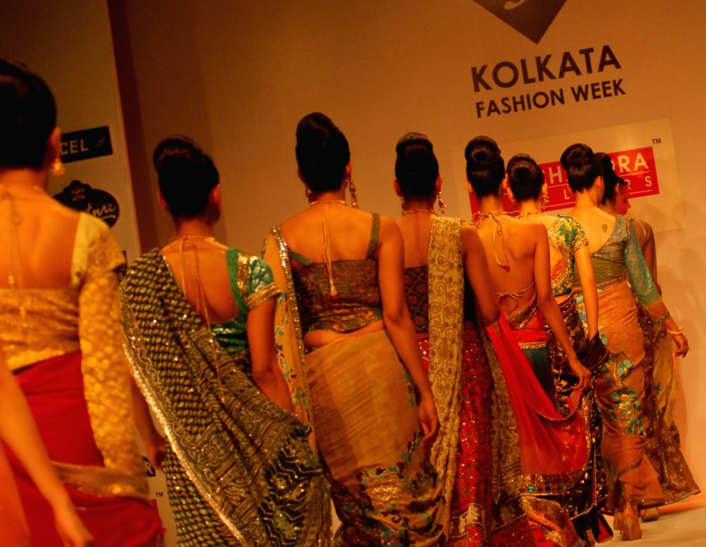 Models are at the ramp for P.C.Chandra collection during the Kolkata Fashion Week on 3rd April 2009.