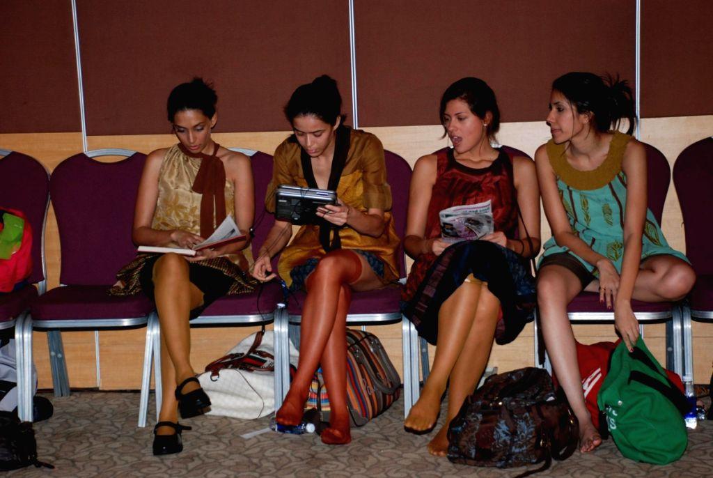 Models at Lakme Fashion Week Fittings.