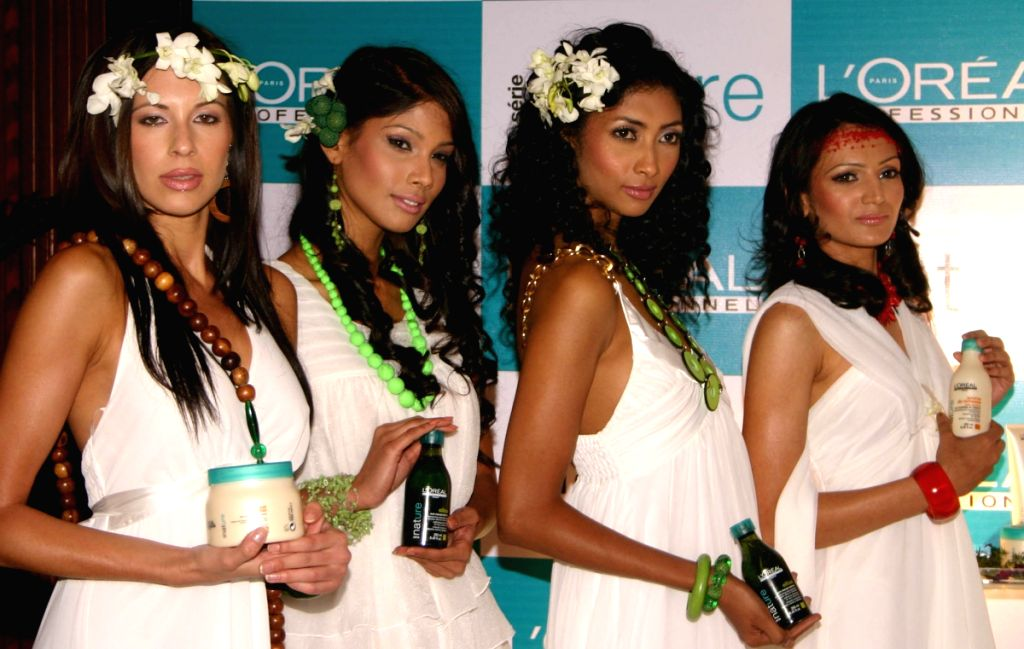 Models at the launch of L'OREAL's Eco-Sensitive brand Serie Nature in New Delhi on Friday.