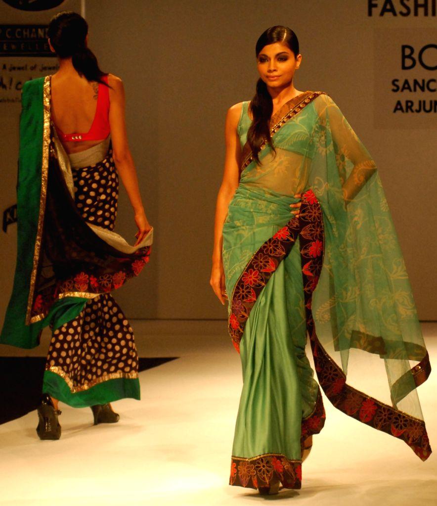 Models at the ramp during the Kolkata Fashion Week on 4th April 2009, India.