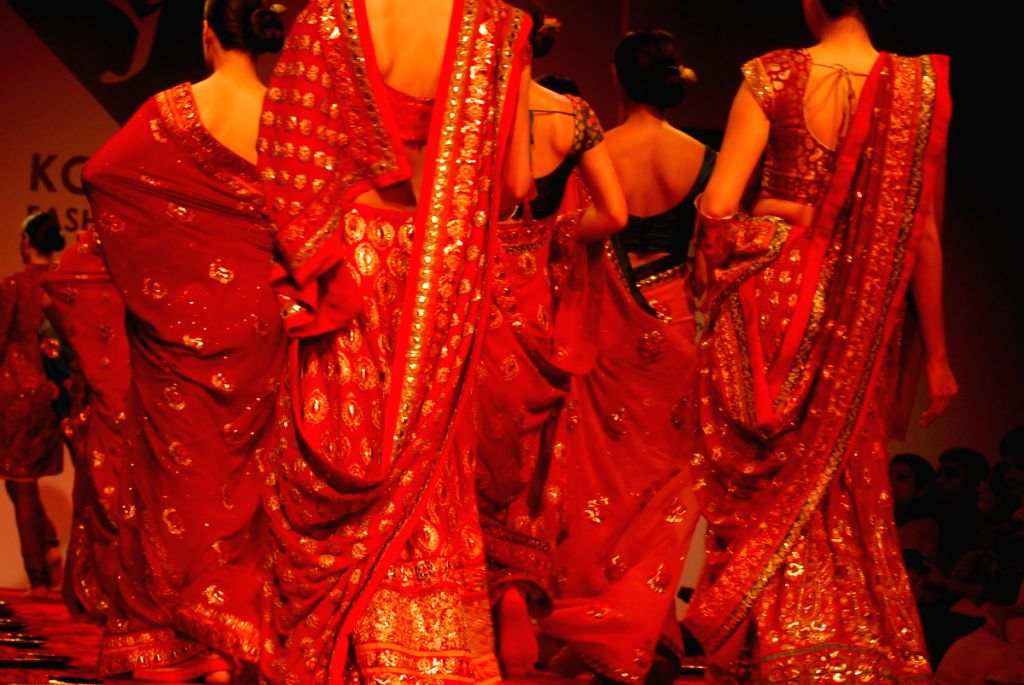 Models at the ramp for marg's  show, during the Kolkata Fashion Week on 4th  April 2009 , India