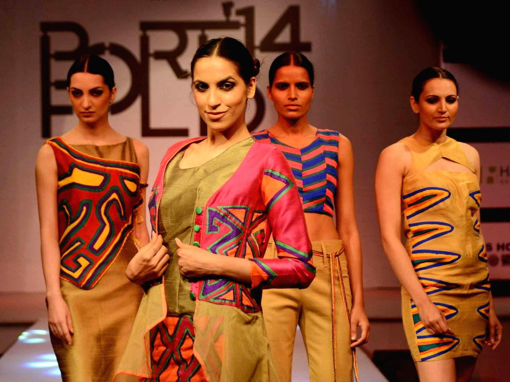 Models during a fashion show organised in New Delhi on May 9, 2014.