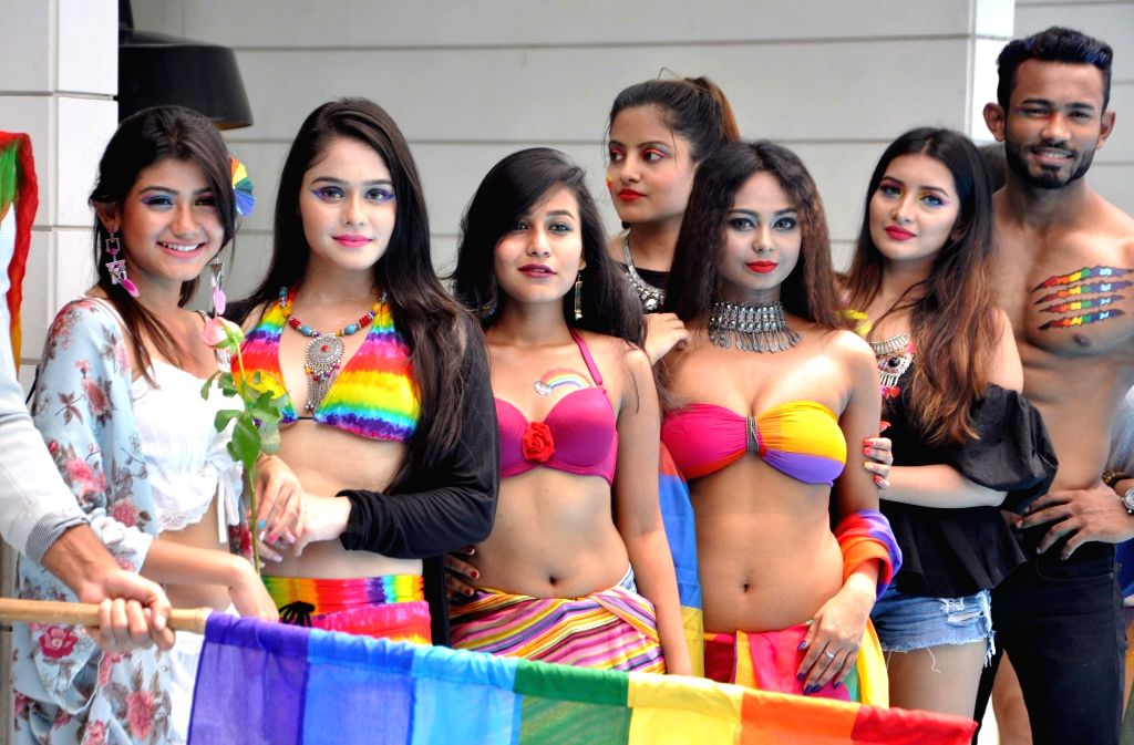 "Models during a photoshoot organised on the theme ""Rainbow – Colors of Pride"",  in Kolkata on Sep 12, 2018."