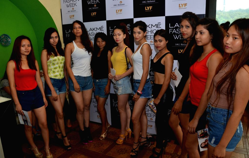 Models during the auditions of Lakme Fashion Week 2016 in Guwahati on July 4, 2016.