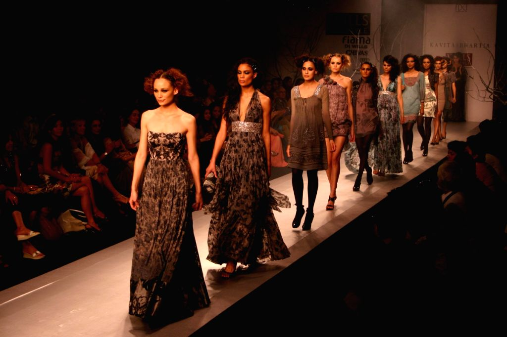 Models on the ramp for designer Kavita Bhartiyal at Wills Lifestyle India Fashion Week in New Delhi on March 19.